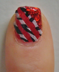 Kiss Red Glitter and Stripes