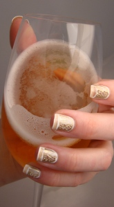 Champagne Bubble Nails with Glass